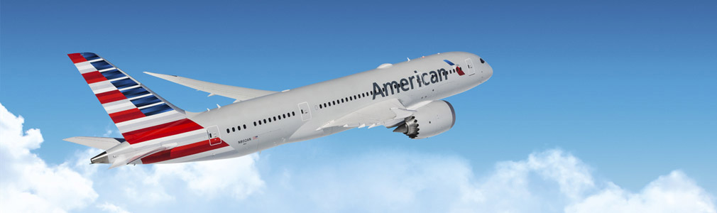 American Airlines plane in the sky